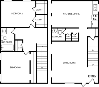 Two Bedroom / One and 1/2 Bath*